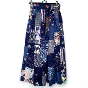Vintage Patchwork Floral Navy High Waist Skirt